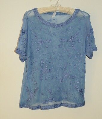 Roaman/'s ladies tshirt top plus size 14//16 blue embroidered short sleeve