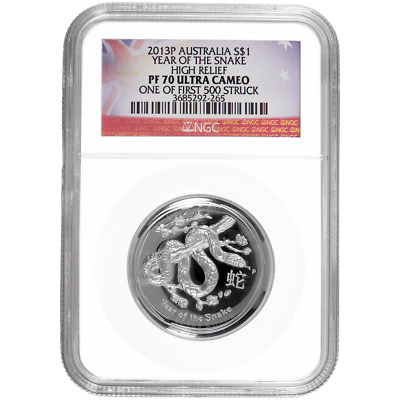 2013-P $1 Australian Silver Year of the Snake High Relief 1oz NGC PF70UC One of
