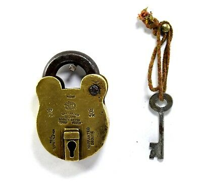 Collectible Antique Rare Solid Brass Indian One Key Secure Padlock. i42-22 US