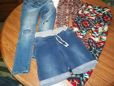 Girls Lularoe 2 Pr.tween Leggins & Sz.10Vanilla Star Shorts& Old Navy Jeans Euc