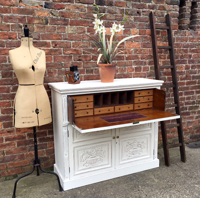 Antique Victorian Painted Multi Drawer / Secretaire Desk / Cupboard / Cabinet.