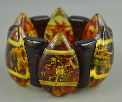 AAA Decorate Collect Chinese Amber Resin Inlay Bee & Branch Elastic Bracelet