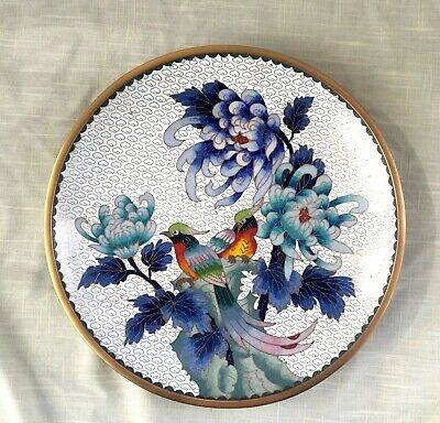Vtg Cloisonne Enamel on Brass Charger/Plate/Wall Plaque - Birds/Flowers - Signed