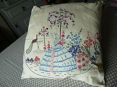 Vintage Hand Embroidered Cushion Cover - Beautiful Crinoline Lady