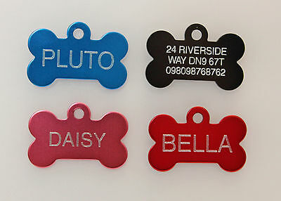 Bone Engraved Dog Tag Id Name Disc Large/Small Personalised Pet/Cat Tags