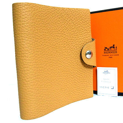 Auth Hermes Brown Leather Ulysse TPM Agenda Notebook Cover Vintage France Q Squa