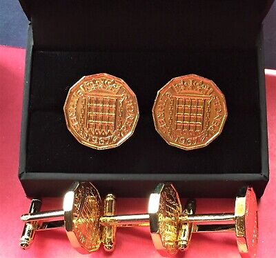 Old Three pence Cufflinks 24ct gold plated rare quality gift