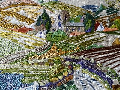 Vintage Hand Embroidered Picture Panel- Stunning Country Scene -Church&cottages