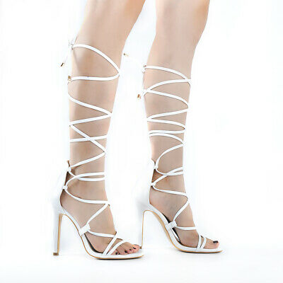0d513ac600 onlymaker Women's Gladiator Lace up High Heels Heeled Strappy Sandals Size  US9.5