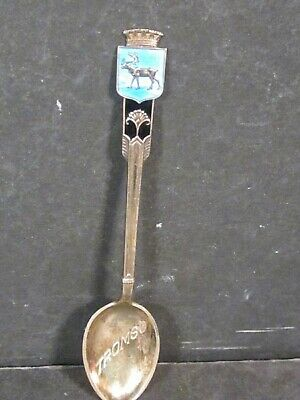 .925 Sterling Silver TROMSO NORWAY SOUVENIR SPOON Enameled Handle 4""