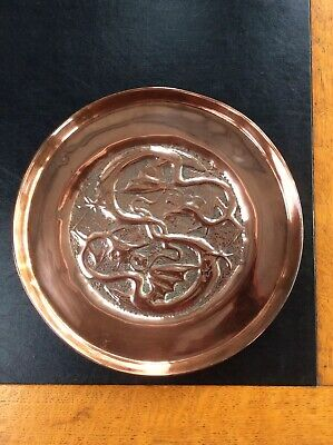 ARTS & CRAFTS Movement Copper Tray Handworked Repousse Dragons Motif Antique