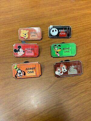 Limited Release Disney 1955 Admit One Ticket Lot Of 6 Disney Pins