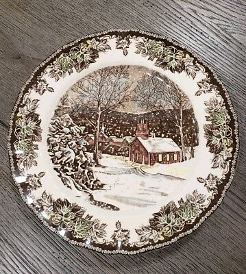"""NEW (4) Johnson Brothers Christmas Friendly Village 10"""" Dinner Holiday Plates"""