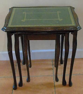 Antique Vintage leather & Glass top nest tables / Oak carved nested tables