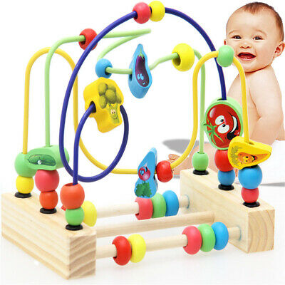 Wooden Math Toy Counting Circles Bead Abacus Wire Maze Roller Coaster