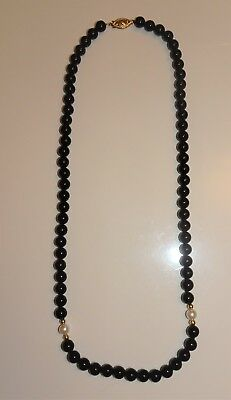 Gorgeous Black Onyx~Pearl~14Kt Gold Ball Beaded 14Kt Clasp Necklace