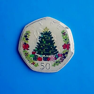 ENAMELLED COIN CHRISTMAS TREE 50p FIFTY PENCE UK