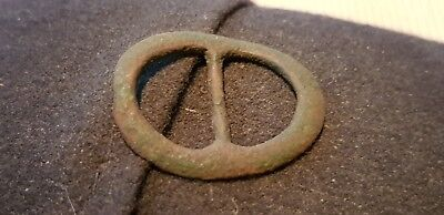 Bronze buckle Medieval 12/13 hundreds found in Britain 1970s L52w
