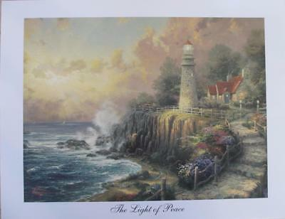 "Thomas Kinkade ""The Light of Peace"" Studio Print 7x9 Lighthouse Ocean Scene Art"