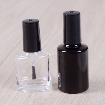 10/15ml Empty nail polish bottle clear glass with brush refillable manicureFLH