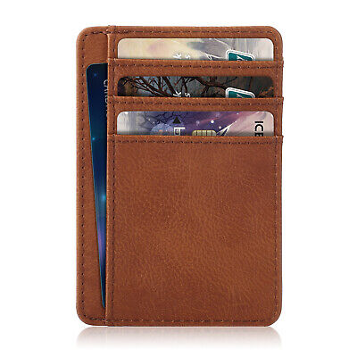 Premium PU Leather Slim ID Credit Card Holder Wallets - Minimalist RFID Blocking