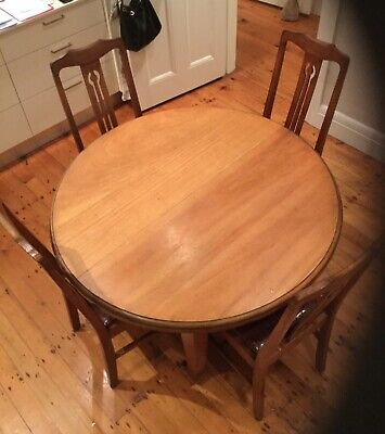 Round Oak antique table and chairs x 4