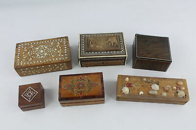 6 x Vintage Trinket / Jewellery WOODEN BOXES Inc. Brass Inlay, Carved, Etc.
