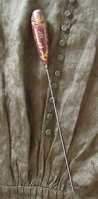 Antique Hatpin Enameled Wood Beautiful