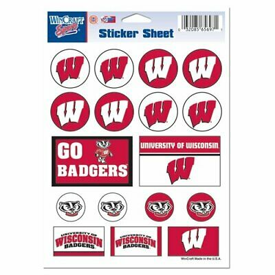 Wisconsin Badgers Mini Decals Stickers 17 Stickers per Sheet FAST SHIP