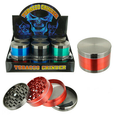 63mm Rainbow Stainless Steel Spice Herb Grinder Cylinder 4 Piece Tobacco Mill