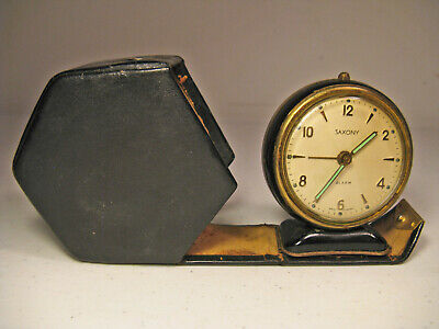 Vintage Saxony Travel Alarm Clock Octogan Leather Case West Germany