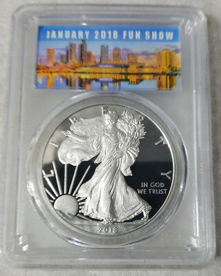 2018-W 1 oz Proof Silver American Eagle PCGS PF 69 First Strike** FUN Show Label