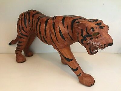 "Beautiful Large Vintage Hand Crafted Leather Bengal Tiger 15"" x 7"""