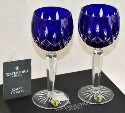 Waterford Crystal ~ Lismore Cobalt Blue PAIR OF Prestige Wine Hock Glasses ~ NEW