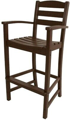 Outdoor Solid Patio Bar Arm Chair HDPE POLYWOOD Lumber Maintenance Free Brown
