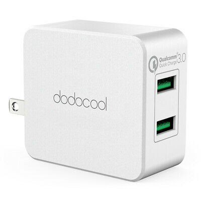 dodocool Quick Charge 3.0 2-Port USB Wall Charger Power Adapter US Plug 36W I2K9