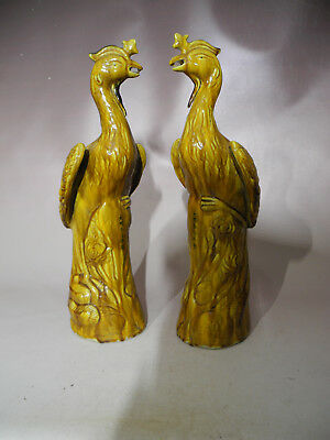 Beautiful Chinese A Pair Yellow Glaze Phoenix Porcelain Figurines & Statues mark