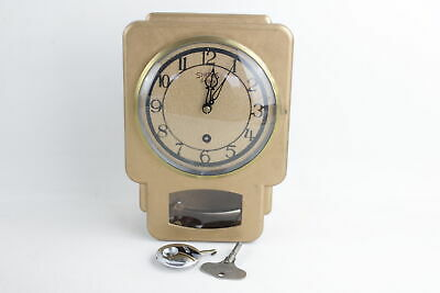 Vintage SMITHS Of ENFIELD Metal WALL CLOCK Key-Wind Painted Gold Tone