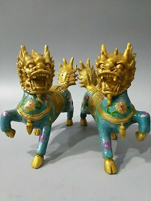 Pair 8'' bronze cloisonne enamel flower treasure fortune dragon kylin statue