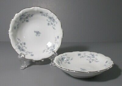 Pair of Johann Haviland Bavaria Germany Fruit Bowls - Blue Flower Design