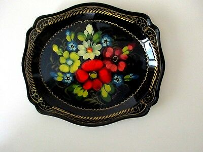 Russian Folk Art Tole Floral Scalloped/Black Lacquer Metal Tray, Artist Signed