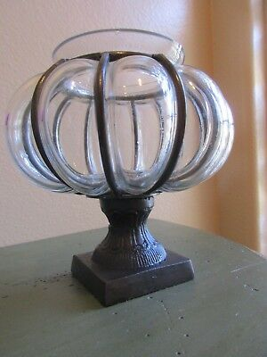 Blown Reticulated Clear Glass/Cast Iron Footed Art Deco Votive Candle Holder,EUC