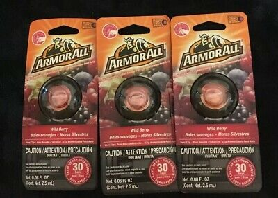 3 ArmorAll Vent Clip Car Air Freshener Wild Berry Scent 0.08 fl oz each