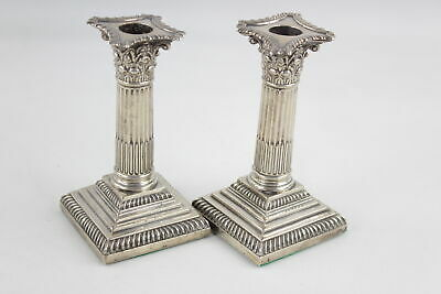 Pair Of Antique Hallmarked 1900 London STERLING SILVER Candlesticks (1031g)