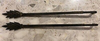 Vintage Art Deco Cast Iron Swing Curtain Rods with Leaf & Berry Pattern