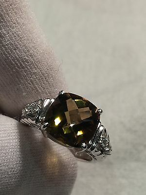 Vintage Genuine Smoky Topaz 925 Sterling Silver Size 6 Ring