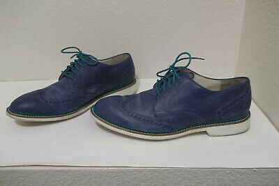 561f0f8430e03 Mens Cole Haan Air Blue White Wingtip Distressed Leather Oxford Shoes Sz 12M