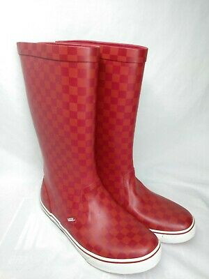 2a2c0b15b49e12 RARE VANS Red Checker board Flag Tall Rain Boots Sz 8 Men s - 9.5 Women s  Used