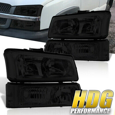 Chrome Housing Clear Reflector Smoke Lens Head Lights For 03-06 Chevy Avalanche