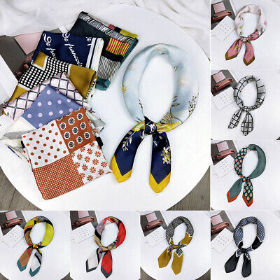 Women Silk Feel Satin Square Scarf Hair Tie Band Vintage Head Neck Scarves New